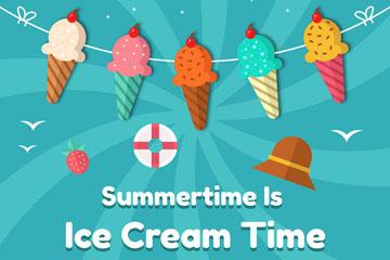 扁平化夏季冰淇淋拉旗矢量素材