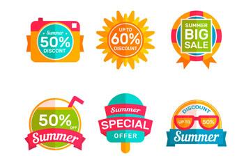 6款彩色扁平化夏季促销标签矢量