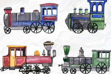 4款水彩绘褶皱纸张上的老式火车