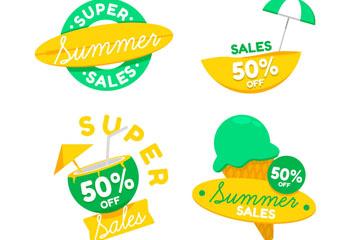 4款黄与绿色夏季促销标签矢量素材