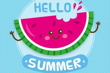 彩色夏季笑脸西瓜牙矢量素材