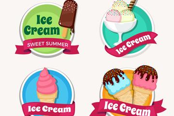 4款美味雪糕丝带标签矢量素材
