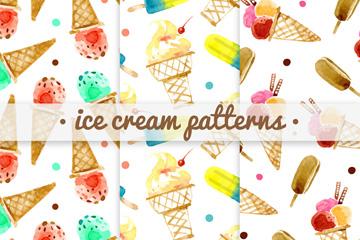 3款水彩绘雪糕无缝背景矢量素材