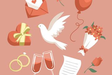 10款红色婚礼元素设计矢量素材