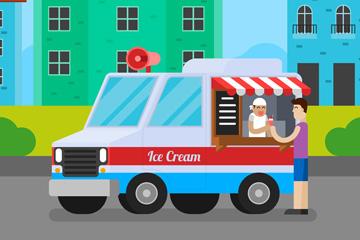 彩色居民区流动冰淇淋车矢量素材