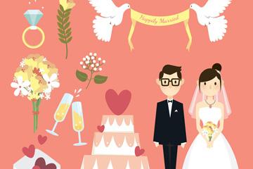 创意新人和8款婚礼元素矢量素材