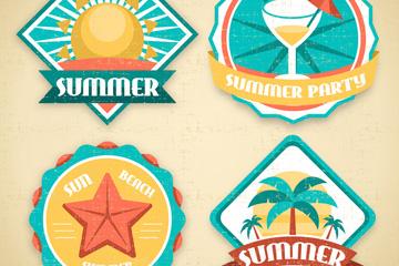 4款复古夏季元素标签矢量素材