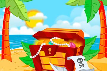 创意岛屿沙滩上的宝箱矢量素材