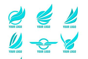 9款蓝色翅膀标志矢量素材
