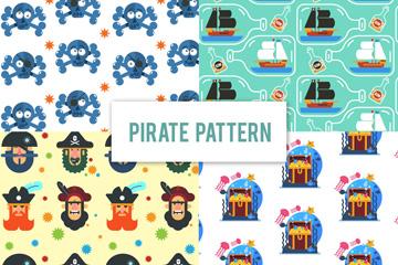 4款彩色海盗元素无缝背景矢量图