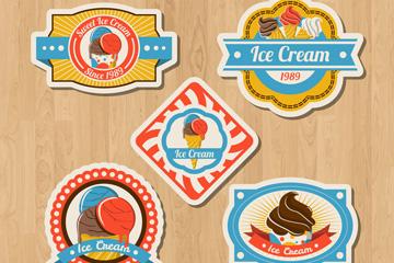 5款彩绘夏季冰淇淋标签矢量图