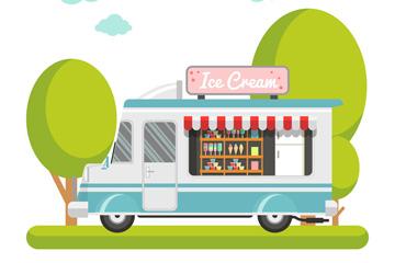 创意流动冰淇淋车和树木矢量素材