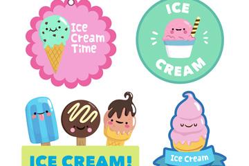 4款可爱笑脸雪糕标签矢量素材