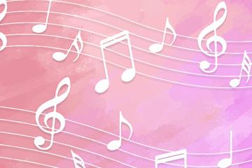 创意粉色底白色五线谱设计矢量图