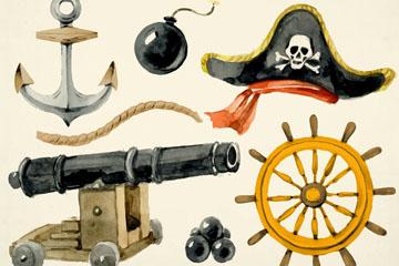 6款水彩绘海盗元素矢量素材