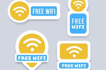 4款彩色免费无线网贴纸矢量齐乐娱乐
