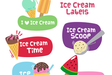 5款卡通雪糕标签设计矢量图