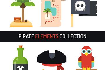 6款扁平化海盗元素矢量素材