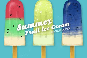 3款夏季彩色冰棒矢量素材