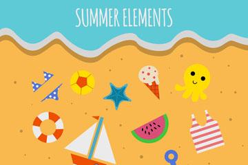 13款彩色沙滩上的夏季元素矢量图