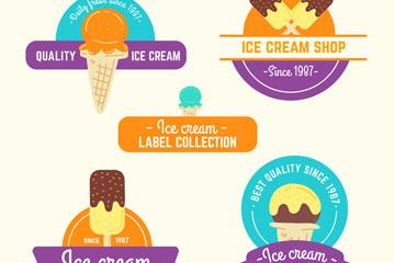 5款彩绘冰淇淋标签矢量素材