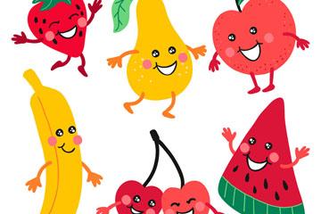 6款卡通笑脸水果矢量素材