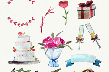12款水彩绘婚礼物品矢量齐乐娱乐
