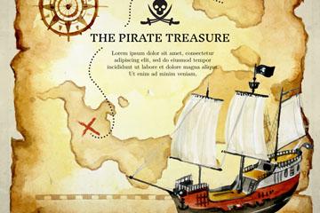 复古藏宝图和海盗船矢量图