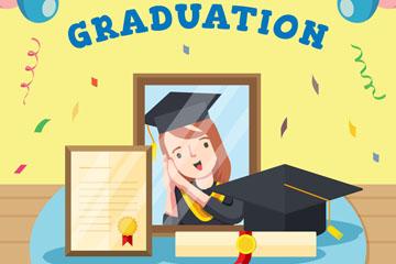 彩色毕业照和毕业证书矢量素材