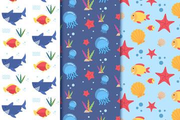 3款彩色海洋动物无缝背景矢量图