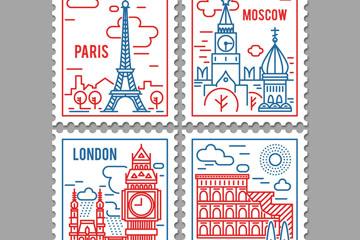 4款彩绘著名景点邮票矢量素材