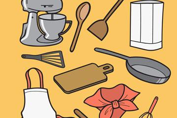 12款彩色厨房用品矢量素材