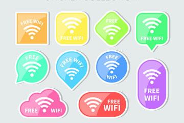 10款彩色免费无线网贴纸矢量图