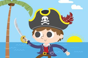 卡通岛屿上挥刀的海盗矢量素材