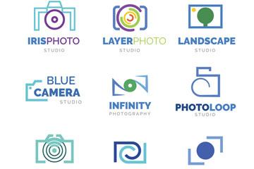 9款蓝色照相机标志矢量素材