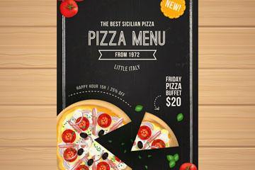 彩绘披萨单页菜单矢量素材