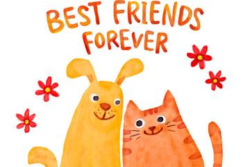 彩绘猫和狗朋友矢量素材