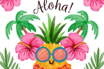 水彩绘夏威夷扶桑花和菠萝矢量图