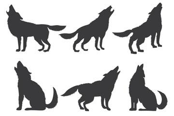 6款创意嚎叫的狼剪影矢量图