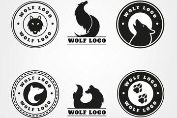 6款抽象狼标志矢量素材