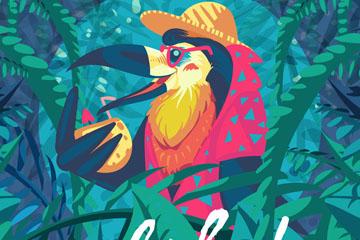 卡通喝椰汁的夏威夷鸟矢量素材
