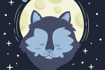 卡通月夜下的狼矢量素材