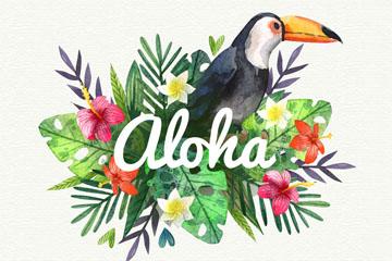 创意夏威夷大嘴鸟和花卉矢量图
