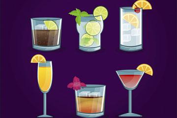 6款创意夏季鸡尾酒矢量素材