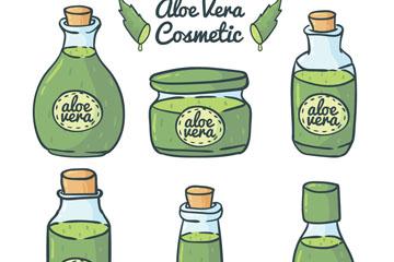 6款彩绘芦荟制化妆品矢量图