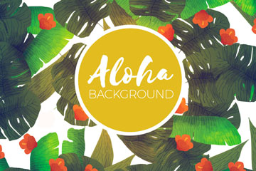 水彩绘夏威夷花卉和树叶背景矢量图