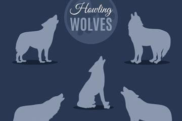 5款创意嚎叫狼剪影矢量素材