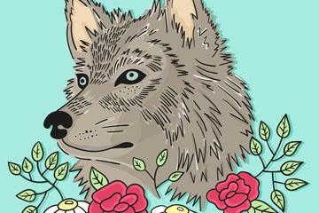 彩绘狼头像和花卉矢量素材