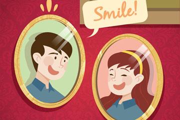 2个创意笑脸人物照片矢量素材