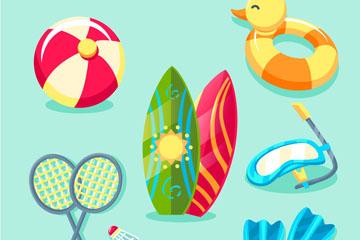 7款彩色夏季度假物品矢量素材